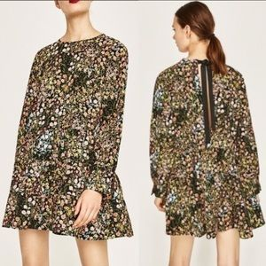 Zara Dark Floral Long Sleeve Swing Romper, XS